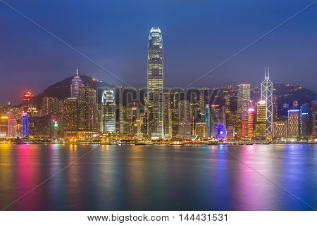 Hong Kong city lights night view waterfront, cityscape background