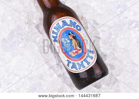 Hinano Beer On Ice Closeup