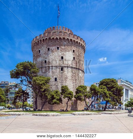 White Tower in Thessaloniki city Macedonia Greece