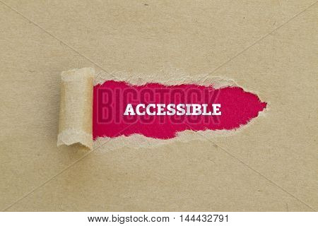 ACCESSIBLE word written under torn paper .
