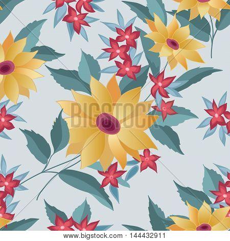 Flourish Tiled Pattern. Abstract Floral Background. Fantastic Fl