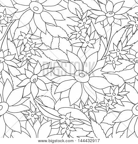 Floral Seamless Outline Pattern. Monohrome Texture With Flowers.