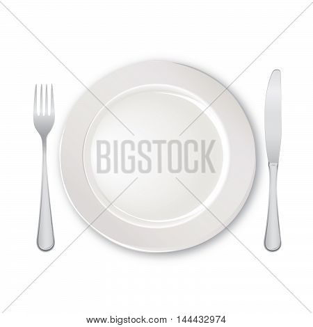 Table setting set. Fork Knife Spoon Empty Plate set. Cutlery white collection. Catering vector illustration. Restaurant service. Banquet still life
