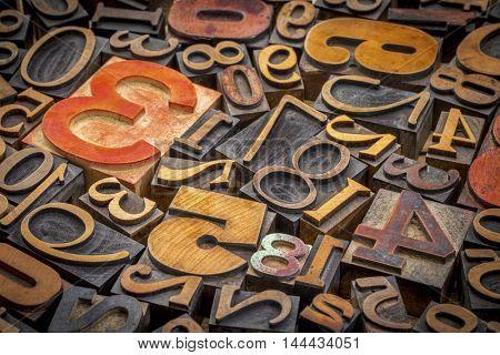 numbers abstract background - vintage letterpress wood type printing blocks