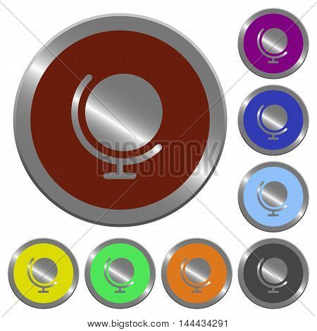 Set of color glossy coin-like globe buttons