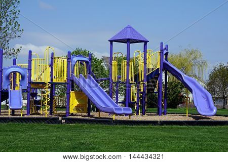 A playground in Joliet, Illinois during the Spring.