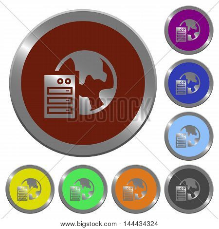 Set of color glossy coin-like web hosting buttons