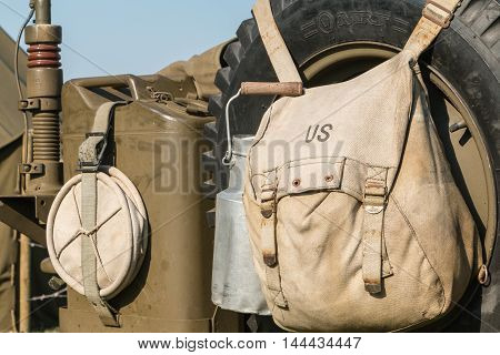 Us Military Bag And Gasoline Jerrycan On A Jeep Expostion