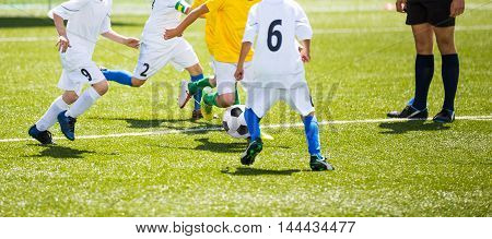 Football soccer training match for young boys. Horizontal football background.