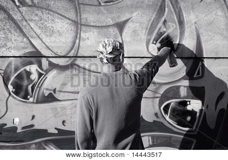 Graffity painter drawing a picture on the wall