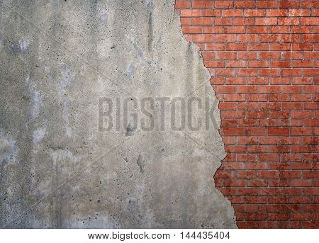 Red brickwork underneath concrete wall. Textured suface. Half painted wall. Background. Cracks and roughness.