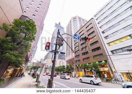 Osaka, Japan - March 10, 2016: Osaka on March 10, 2016. High rise office buildings in Osaka Business District.