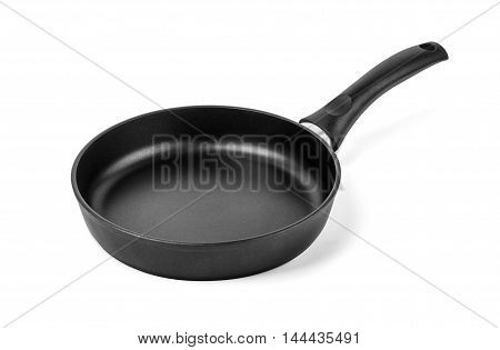 black frying pan isolated on white background with clipping path