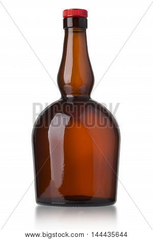 bottle isolated on white background. Tincture balsam whiskey cognac brandy rum port wine.With clipping path