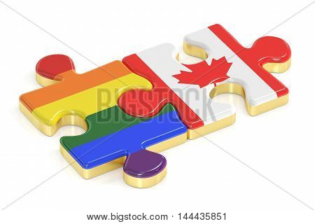 Gay Pride Rainbow and Canada puzzles from flags 3D rendering