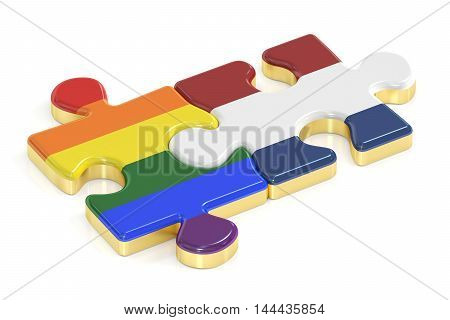 Gay Pride Rainbow and Netherlandish puzzles from flags 3D rendering