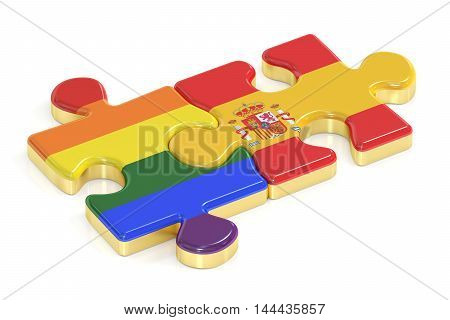 Gay Pride Rainbow and Spain puzzles from flags 3D rendering