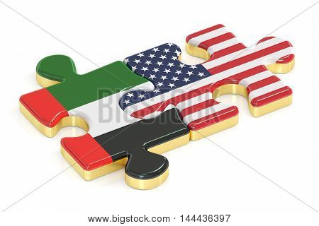 UAE and USA puzzles from flags 3D rendering