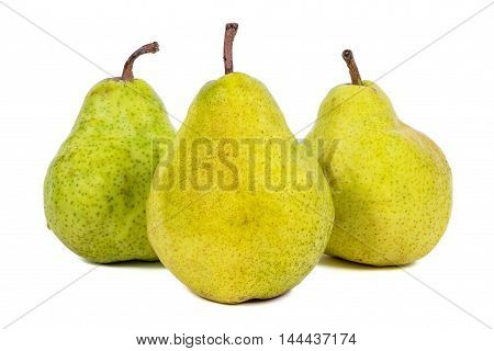 Three fresh pears isolated on white background with clipping path