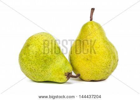 Two fresh pears isolated on white background with clipping path