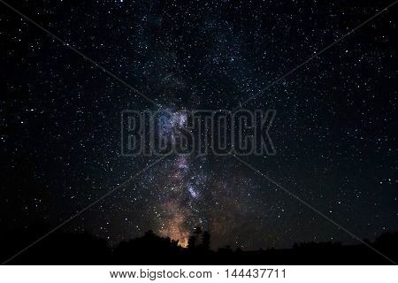 Milky Way galaxy Long exposure photography beautiful night sky. Night sky with lot of shiny stars. Note: Soft Focus and grain at 100 best smaller sizes.