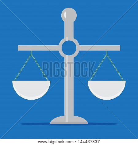 Scale isolated in flat style. Scales of justice and balance scale. Vector illustration