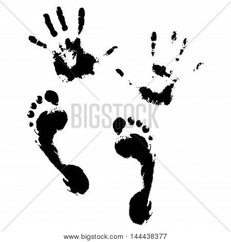 Imprint of hands and feet. Stamp printing footprint and foot imprint hand print vector illustration