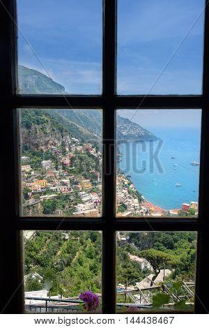 Scenic view of village of Positano on the Amalfi Coastline in Italy
