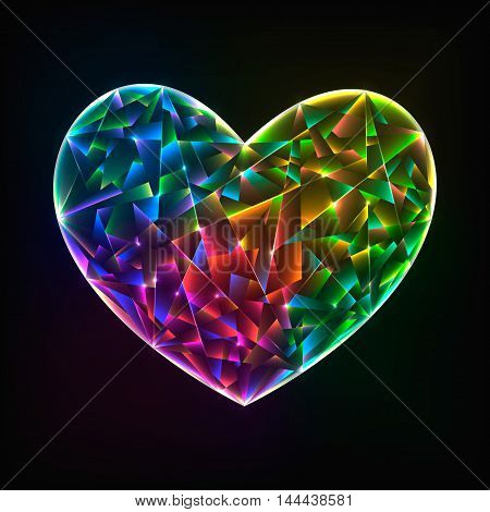 Vector illustration glowing colorful multicolor glass heart