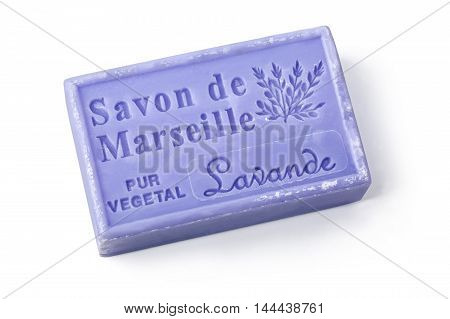 Chisinau Moldova - March 25 2016: La Maison du Savon Marseille Lavande scented soap isolated on white background with clipping path