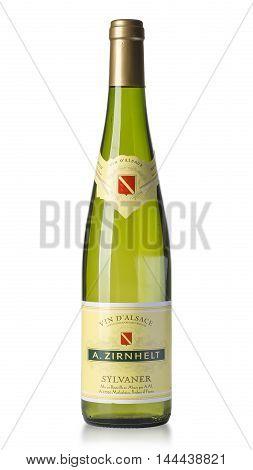 Chisinau Moldova 27 Julyi 2016: Bottle of white wine Alsace is a wine growing region in Northeast France