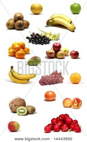 Set of different bright tasty fruits isolated on white