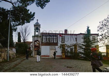 Istanbul Turkey - December 18 2013: Aya Yorgi monastery the monastery is located in Buyukada The Aya Yorgi Manastır or St George Monastery is arguably Büyükada's most popular sight. Located on one of the tallest hills Aya Yorgi Manastır offers unparallele