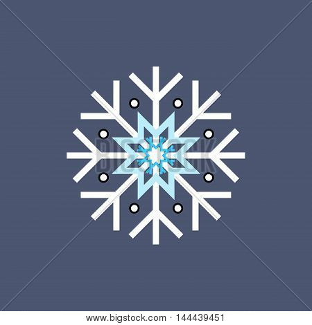 White blue and black winter snowflake on blue background. End of year christmas and sale season.