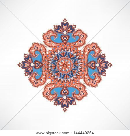 Floral Pattern. Arabic Ornament With Fantastic Flowers And Leaves. Flourish Tiled Oriental Ethnic Ba