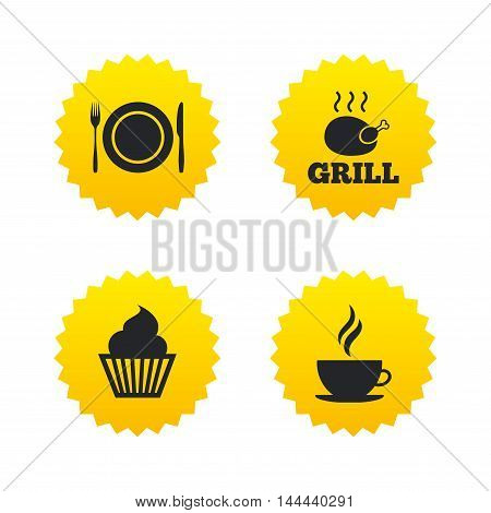 Food and drink icons. Muffin cupcake symbol. Plate dish with fork and knife sign. Hot coffee cup. Yellow stars labels with flat icons. Vector