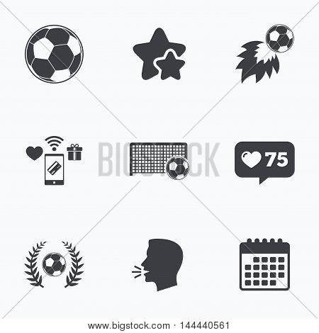 Football icons. Soccer ball sport sign. Goalkeeper gate symbol. Winner award laurel wreath. Goalscorer fireball. Flat talking head, calendar icons. Stars, like counter icons. Vector