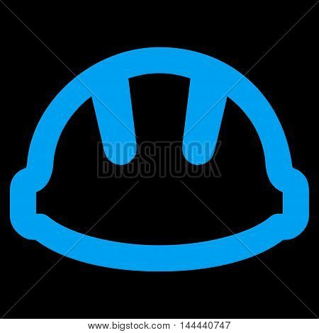 Hardhat vector icon. Style is outline flat icon symbol, blue color, black background.