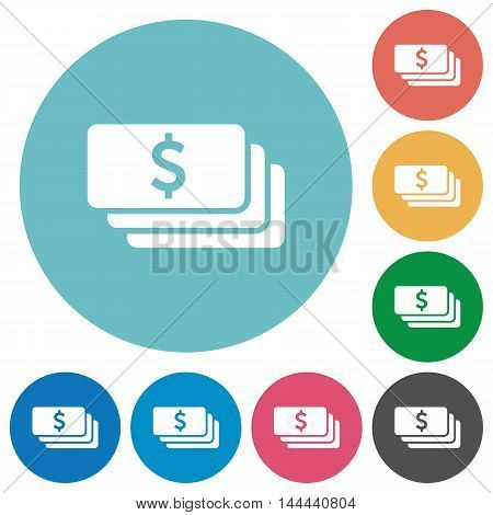 Flat Dollar banknotes icon set on round color background.