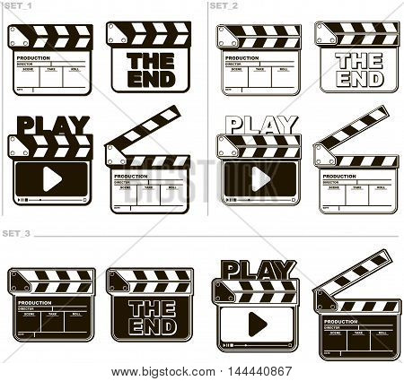 A vector illustration of Movie black and white clapper boards set