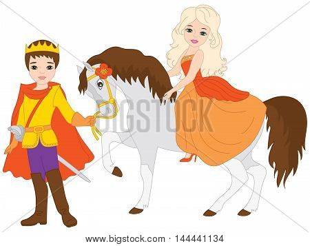 Vector beautiful blond princess on white horse with prince