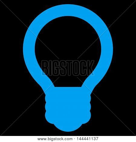 Light Bulb vector icon. Style is linear flat icon symbol, blue color, black background.