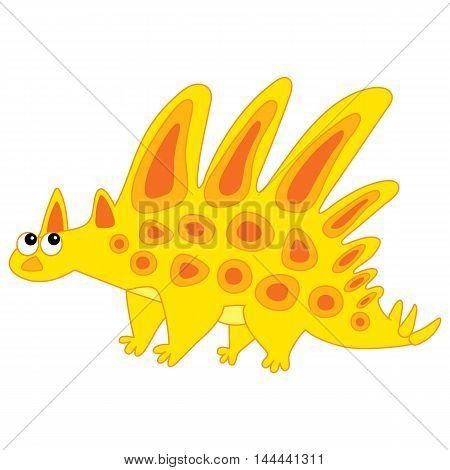 Vector cartoon yellow and orange dinosaur with spots