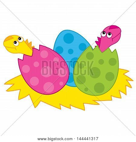 Vector cartoon colorful dinosaurs' babies and eggs