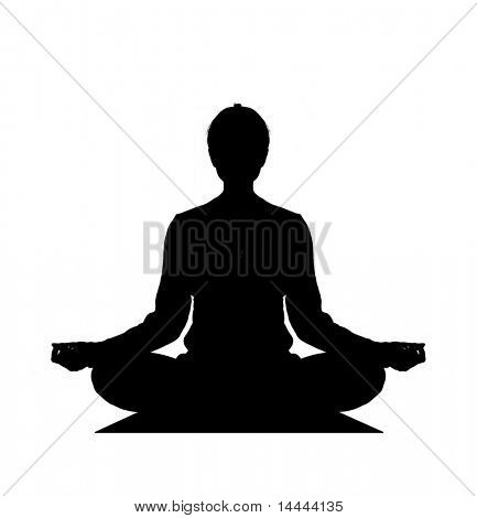 Human silhouette meditating over white