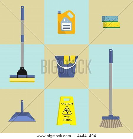 Set of seven icons of cleaning products. There is the mop, bucket,