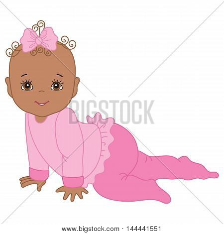 Vector cute African American crawling baby girl