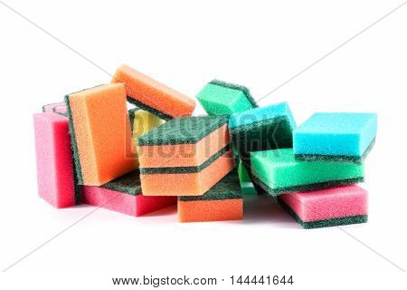 Kitchen sponge isolated on white background. Colorful dishwashing kitchen sponges