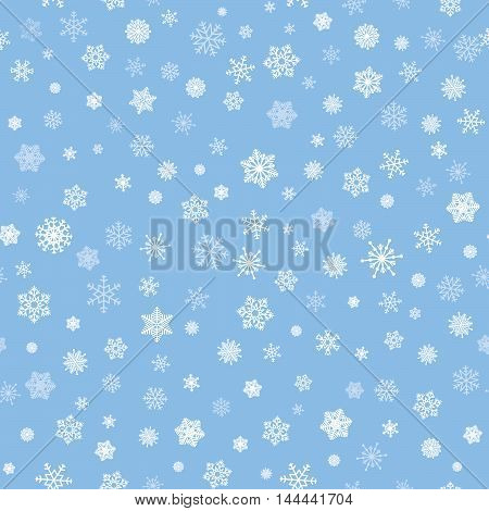 Snow Background. Snowflakes Texture. Blue Snow Falling On White Background Gentle Seamless Pattern.