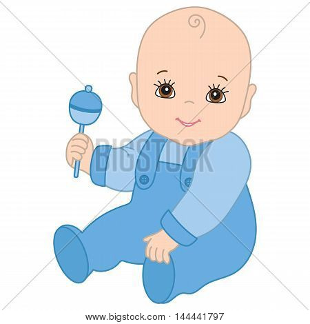 Vector cute smiling baby boy with rattle
